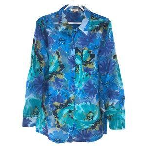 TravelSmith Floral Sheer Cutout Shirt